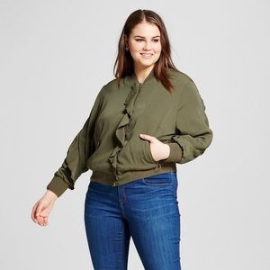 Who What Wear Ruffled Green Bomber Jacket